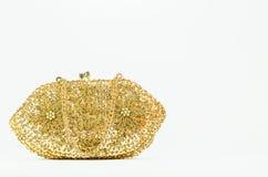 Goldene perlenbesetzte Kupplung Weinlesedame handcraft Handtasche auf weißem BAC Lizenzfreie Stockbilder
