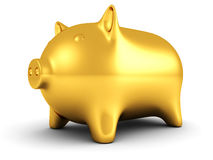 Goldene piggy Geldquerneigung auf weißem Hintergrund Stockfotografie