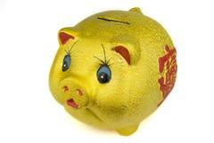 Goldene Piggy Querneigung Lizenzfreie Stockfotografie