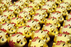 Goldene piggy Querneigungen Lizenzfreies Stockbild