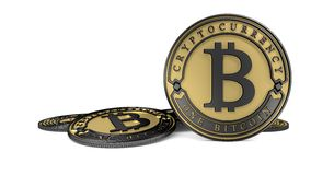 Goldene Platin Bitcoin-Münze Lizenzfreie Stockbilder