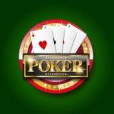 Goldene Pokerfahne stock abbildung