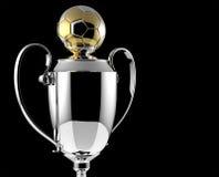 Goldene Preistrophäe des Fußballs. Stockbilder
