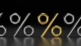 goldene Prozente 3D Stockfotos