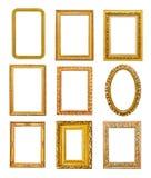 Goldene Rahmen der unterschiedlichen Form Stockfotografie