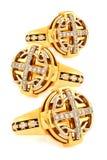 Goldene Ringe mit Diamanten Stockbild