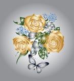 Goldene Rosen und Basisrecheneinheiten Lizenzfreie Stockfotografie