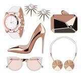 Goldene Rosenmode-accessoires Stockfoto