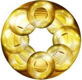Goldene runde Gestaltungselemente Stockbild