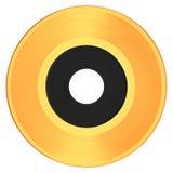 Goldene Schallplatte mit weißem Aufkleber Stockfoto