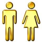 goldene Schattenbilder des Mann-3D und der Frau Lizenzfreies Stockbild