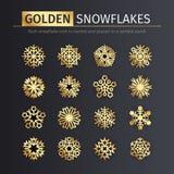 Goldene Schneeflocken-Ikonen eingestellt Stockbild