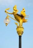 Goldene Schwanlampe auf Strom Lizenzfreies Stockbild