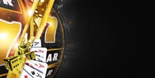 Goldene schwarze Kasino-Fahne Stockbilder
