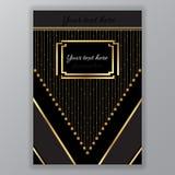 Goldene schwarze Seitenschablone Art Decos stock abbildung