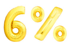 Goldene sechs Prozent gemacht von den aufblasbaren Ballonen Stockbild