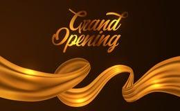 Goldene Seidenbandillustration für Zeremonie der festlichen Eröffnung vektor abbildung