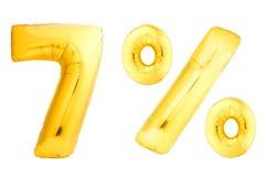 Goldene sieben Prozent gemacht von den aufblasbaren Ballonen Stockfotografie