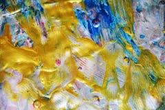 Goldene silberne Beschaffenheit, wächserner abstrakter Hintergrund, klarer Hintergrund des Aquarells, Beschaffenheit Stockfotografie