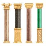 Goldene Spalten der klassischen arabischen Architektur mit dem Steinmarmorsäulenvektorsatz lokalisiert lizenzfreie abbildung