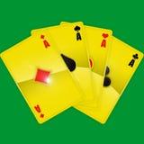 Goldene Spielkarten Stockfotos