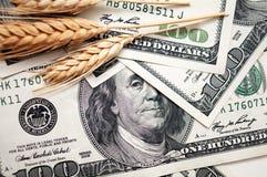 Goldene Spitzen mit Dollarscheinen Stockfoto