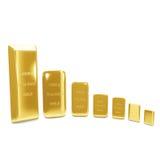 Goldene Stäbe auf weißem Hintergrund Stockbilder