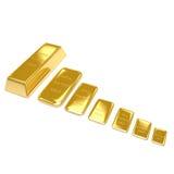 Goldene Stäbe auf weißem Hintergrund Lizenzfreie Stockfotografie