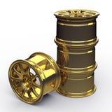 Goldene Stahlscheiben für eine Illustration des Autos 3D lizenzfreies stockfoto