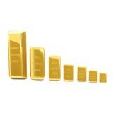 Goldene Stangen auf dem weißen Hintergrund Stockfotos