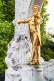 Goldene Statue Johann Strauss in Stadtpark, Wien Lizenzfreie Stockbilder