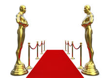 Goldene Statue mit rotem Teppich lizenzfreie abbildung