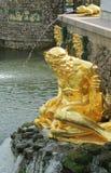 Goldene Statuen und Brunnen von Peterhof Stockfotos