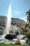 Goldene Statuen und Brunnen von Peterhof samson Lizenzfreie Stockbilder