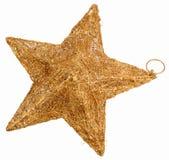 Goldene Stern Weihnachtsdekoration getrennt auf Weiß lizenzfreie stockfotos