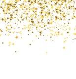 Goldene Sterne, die vom Himmel auf weißem Hintergrund fallen entziehen Sie Hintergrund Lizenzfreie Stockbilder