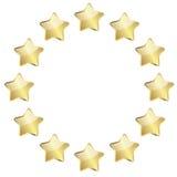 Goldene Sterne in einem Kreis Stockfotografie