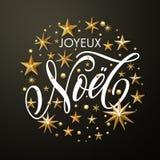 Goldene Sterne Franzosen Joyeux Noel Merry Christmas lizenzfreie abbildung