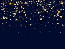 Goldene Sterne und Kreise, die abfallen Kosmisches abstraktes Vektorba Stockfotos