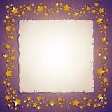 Goldene Sterne und Papierblattfeld lizenzfreie abbildung