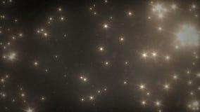 Goldene Sterne und Schnee, die vom Himmel nachts fällt stock video