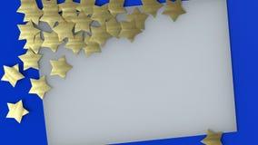 Goldene Sterne und weißes Blatt Papier auf blauer Wiedergabe des Hintergrundes 3D stock abbildung