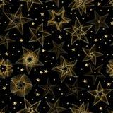 Goldene Sternlinie gelegentliches nahtloses Muster Stockbilder