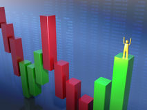 Goldene stickman Stellung in einem grünen Stab Lizenzfreies Stockfoto