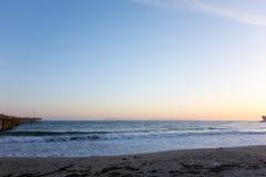 Goldene Stunde bei Ventura City Beach stockbilder