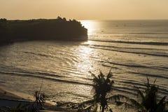 Goldene Stundenansicht von Balangan-Strand, Bali, Indonesien Lizenzfreie Stockfotografie