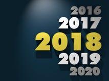 Goldene Tabellen 2018 auf dunkelgrünem Hintergrund Stockbild
