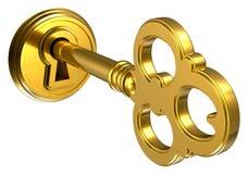 Goldene Taste im Schlüsselloch Stockbilder