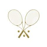 Goldene Tennisschläger Stockbilder