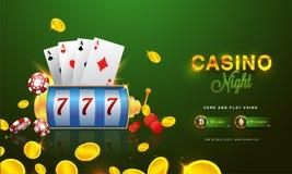 Goldene Text Kasino-Nacht mit Chip 3D, Münzen, Askarten und rou Stockfotos